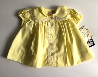 Vintage Baby Girls 70's Unworn, Yellow Dress, White, Lace, Short Sleeve by Bonnie Jean (9 mos)