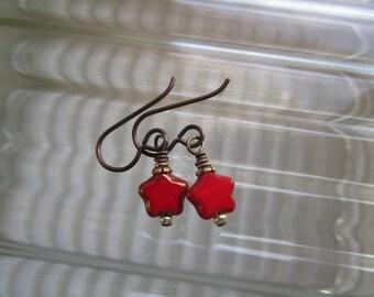Tiny Red Glass Star Earrings Czech Glass Fun Little Earrings with Niobium Teeny Unique Cute Earrings Hypoallergenic Ear Wires