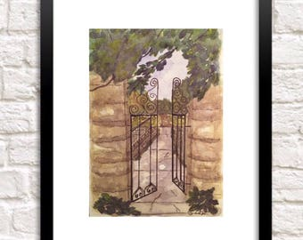 Pen and Watercolor landscape, Nature painting, Garden Gate print, original watercolor artwork, peaceful painting, garden lover gift