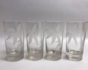 Vintage Libbey Etched Frosted Bamboo Tumbler Glasses Asian