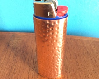 Pure Copper Lighter Cover with hand hammered texture