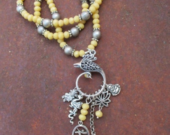 Mystical Phoenix Charm Necklace - Yellow Faceted Beads - Bohemian Charm Beaded Necklace - OM Kuan Yin Lotus Buddha Koi Fish Dragon Charms