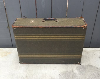 Vintage Tweed Striped Wardrobe Suitcase; Clothes Trunk; Tweed Luggage; Striped Suitcase; Wardrobe Trunk; Storage Trunk; Vintage Luggage