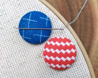 Needle Minder, 2 Piece Reversible Scout and Remy, For Cross Stitch, Sewing, Embroidery, Quilting