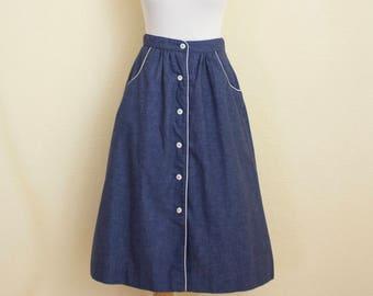 70's blue chambray skirt