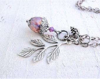 Acorn Pendant Amethyst Purple Opalite Glass Acorn Pinecone Necklace Branch Leaf Pendant Good Luck Symbol Wedding Jewelry Charm Necklace