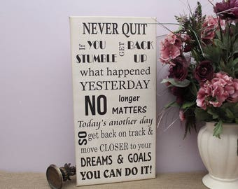 Motivational Never Quit You Can Do It Subway Art Canvas Sign, Inspirational Quote Gallery Wrap Canvas Wall Art, Office Wall Hanging