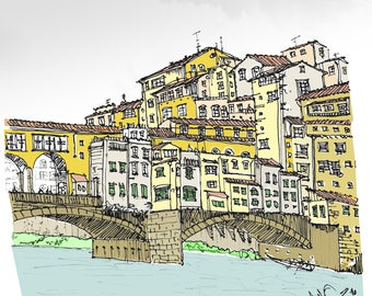 "Pen and Ink Sketch 12"" x 12"" Print of Ponte Vecchio Italy"