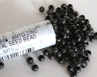 Antique Zinc Size 6 Metal Seed Bead Approx 32 grams