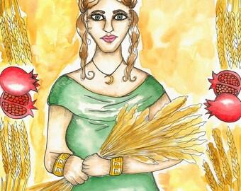 Goddess Art Original Demeter Watercolor Painting Mabon Pagan Art Harvest Fall Goddess Greek Spiritual Art Pagan Altar Mythological Altar Art