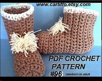 crochet pattern slippers- number 96.. Boot Slipper   sizes Newborn to Adult...BEGINNER Level..Instant Download