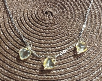 Yellow Hearts Silver Necklace