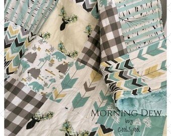 Baby Quilt Gender Neutral Woodland, Blue and Yellow Crib Bedding, Baby Bedding Woodland Animals,  Woodland Deer Baby Quilt, Morning Dew