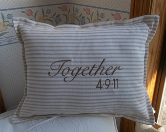 Personalized Pillow Anniversary Pillow Wedding Gift Ticking Pillow Custom Fabrics Farmhouse Decor Anniversary Gift Couple Gift Wedding Decor