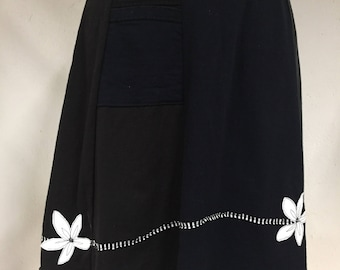 T-Skirt | upcycled, recycled black t-shirt skirt with flower appliqué + pocket