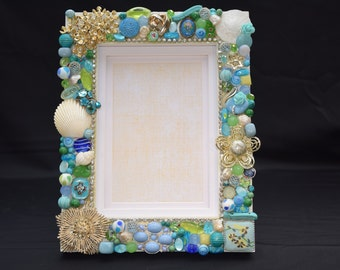 4in x 6in Blue, Green, and Vintage Gold Jewelry Hand Decorated Frame