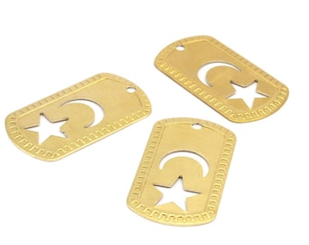 Moon And Star Necklace, 6 Raw Brass Military Tags, Moon And Star (50x28x0.80mm) B-7