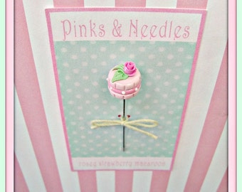 Rosey Strawberry Macaroon Pin Topper