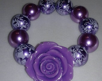 Purple rose chunky bead bracelet