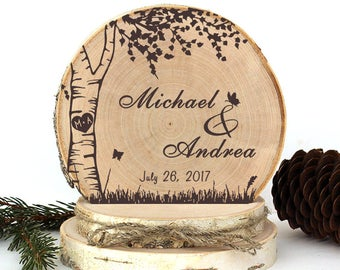 Rustic Wedding Cake Topper. Birch Tree with Butterflies Cake Topper. Rustic Wood Cake Topper. Rustic Cake Topper. Rustic Wedding