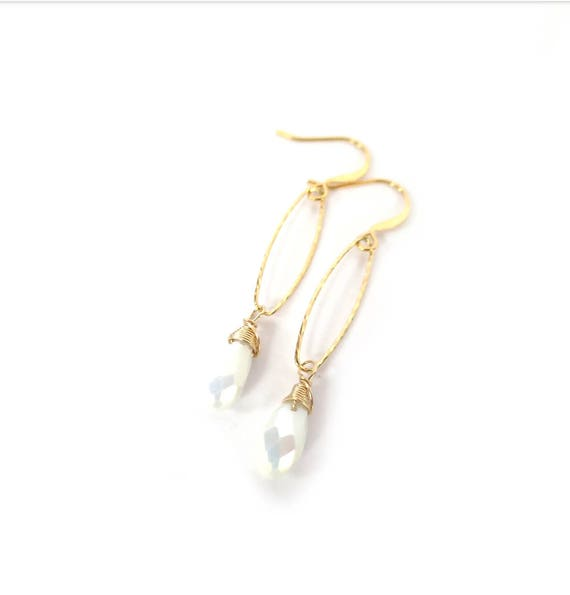 White Crystal Hoop Dangle Earrings