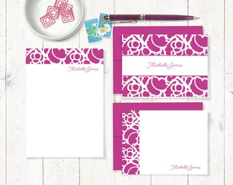 complete personalized stationery set - STENCIL BORDER - personalized womens stationary set - note cards - notepad