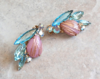 Pink Blue Earrings Rhinestone Copper Fluss Navettes Clip On Vintage 080114ON