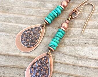 Boho Jewelry Boho Earrings Dangle Boho Earrings Turquoise Earrings Turquoise Jewelry Copper Earrings Drop Earrings Small Earrings