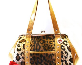 Leopard Rockabilly Purse, Faux Fur and Your Choice of Trim, Retro Glitter Handbag - MADE TO ORDER