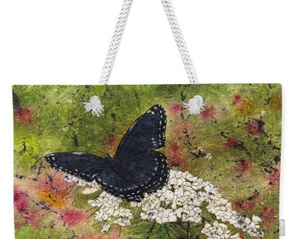 Mother's Day Gift Weekender Tote  Watercolor Batik Black Butterfly on Queen Annes Lace