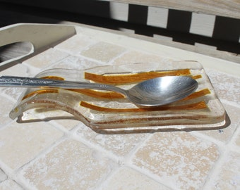 Spoon rest, fused glass, fused glass spoon rest, gold spoon rest, gold fused glass spoon rest, kitchen spoon rest, glass spoon rest