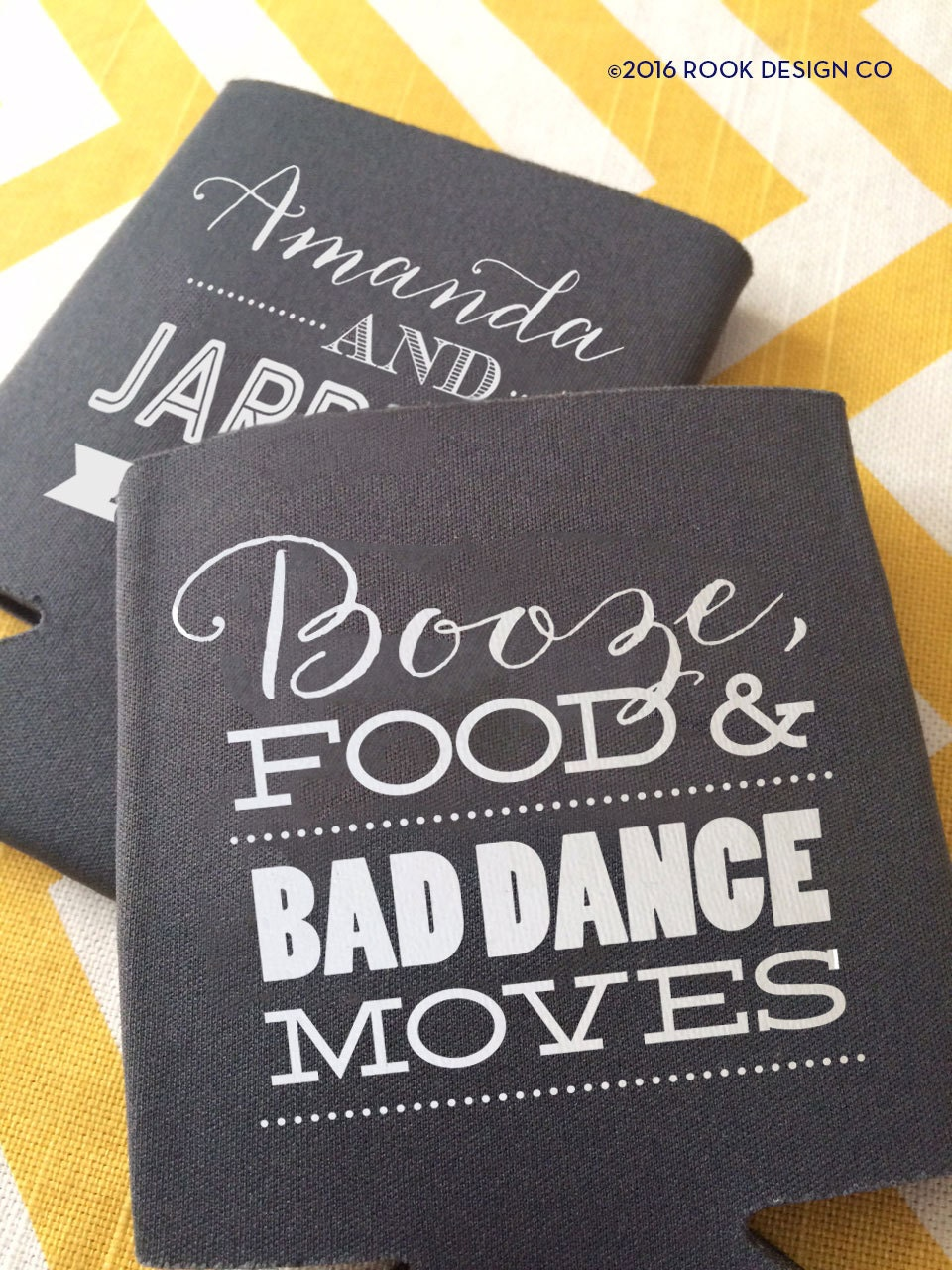 Booze Food And Bad Dance Moves Wedding Can Coolers Funny Beer