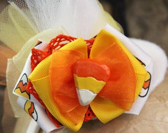 Mini Witch Hat, White Witch Hat, Candy Corn Hat, Halloween Headband, Witch Costume, Halloween Hat_Candy Corn Hat