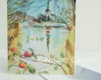 Church Card, Blank Greetings Card, St Mary's Church, Attenborough Nature Reserve, Nottingham, Autumn Card, Church Painting, Watercolour Card