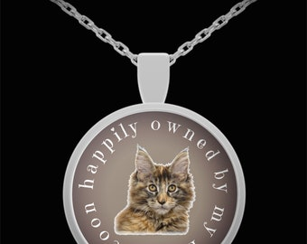 Earth-Edge Maine Coon Cat Necklace in Color - Gift for Maine Coons Owners and Lovers