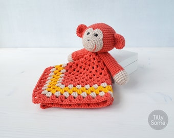 Monkey Lovey Pattern | Security Blanket | Crochet Lovey | Baby Lovey Toy | Blanket Toy | Lovey Blanket PDF Crochet Pattern