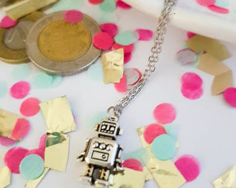 Robot pendant necklace - silver plated robot chain - robot necklace - robot pendant - geek gifts