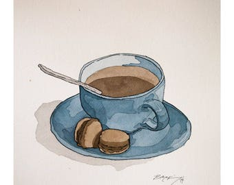 Signed Watercolor Print, Blue Coffee and Macaroons, 8.5x11 inches, Watercolor Painting, Food Sketch, Kitchen Decor, Wall Art, Food art