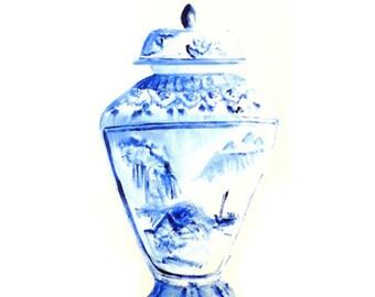 Ginger Jar Print, Blue and White Vase, Fine Art Print, Still Life, Home Decor, Art Decor