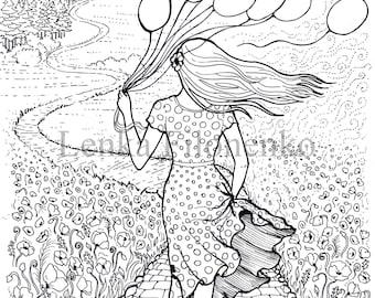 kleurplaat pagina vrouw met bloemen volwassen kleurplaten