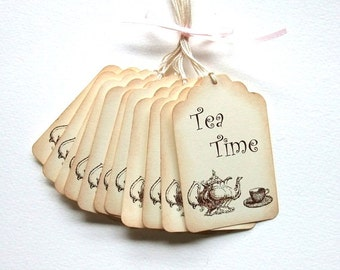 Tea Time Tags, Tea Party, Bridal Shower, Vintage Inspired, Set of 6 or 12