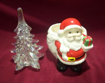 Santa Planter and Glass Christmas Tree