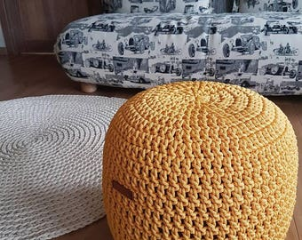 Yellow Pouf 16'' Stuffed Hand Crochet Ottoman Pouf- perfect size used as Footstool or Ottoman. Available other colors