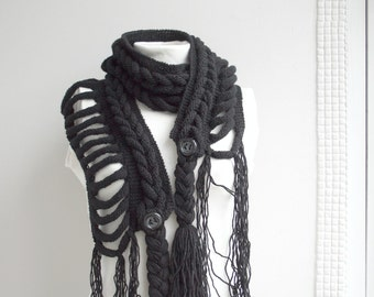 BLACK  Wool  Scarf with Black Button Christmas gift For Her Gift under75