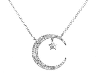 0.21ct Pavé Diamonds in 14K White Gold Crescent Moon & Star Charm Necklace - CUSTOM MADE