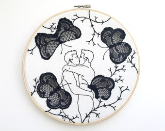 "Embroidery art ""Black lace butterflies"""