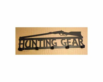 Hunting Gear Coat Rack with Rifle