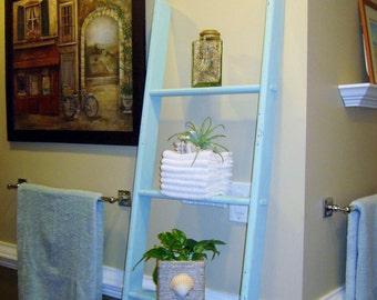 6ft Blanket Ladder, Rustic Wood Blanket Ladder, Tall Wooden Ladder