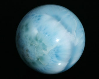 "Stunning Larimar Sphere from the Dominican Republic 1.37"" in diameter 71.8g"