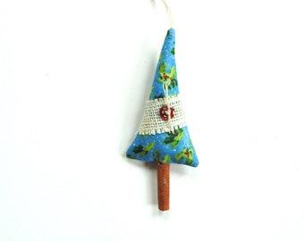 Cinnamon tree sachets, pine needles and cinnamon chips hanging tree ornament, Christmas decoration